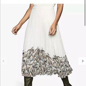 REISS Isidora Pleated Skirt UK 4/US 0 White NWT